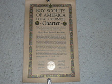1935 Council Charter Certificate, Delta Council, Original James E West Signature, 10 year Veteran Council