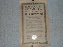1934 Council Charter Certificate, Delta Council, Original James E West Signature, 10 year Veteran Council