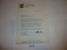 1973 National Jamboree Staff Assignment cover letter from Barber and Mockford
