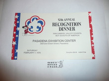 1976 Invitation to Eagle Scout Recognition Dinner of San Gabriel Valley Council