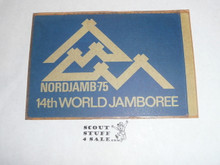 1975 World Jamboree Rectangular Sticker, blue