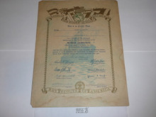 1933 World Jamboree USA Contingent Member Recognition Certificate, presented