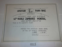 1987-88 World Jamboree Amateur Radio Base Certificate, blank