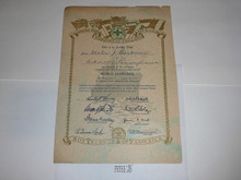 1929 World Jamboree USA Contingent Member Recognition Certificate, presented