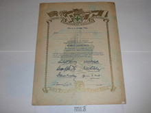 1929 World Jamboree USA Contingent Member Recognition Certificate, blank