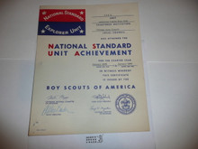 1965 Sea Scout National Standard Unit Achievement Certificate, presented