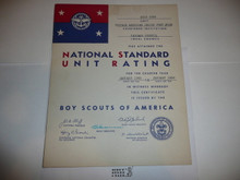 1955 Sea Scout National Standard Unit Rating Certificate, presented