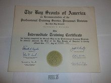 1960 Intermediate Training Professional BSA Certificate, presented