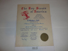 1954 Professional BSA Certificate for completion of 1st Advanced Intermediate Course at Schiff, presented