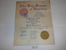 1950 Professional BSA Certificate for completion of Intermediate Course at Schiff, presented