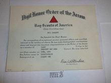 1970 Order of the Arrow Vigil Honor Certificate from Tamet Lodge #225