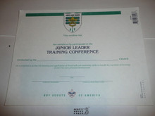 2000 Junior Leader Training Conference Certificate, blank