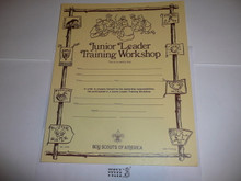 1981 Junior Leader Training Workshop Certificate, blank