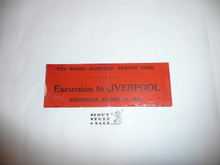 1929 World Jamboree Excursion to Liverpool Ticket for August 7, a little worn