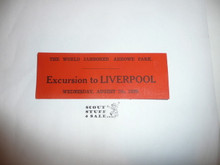 1929 World Jamboree Excursion to Liverpool Ticket for August 7