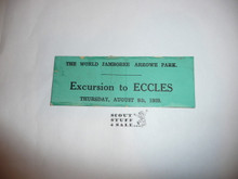 1929 World Jamboree Excursion to Eccles Ticket for August 8