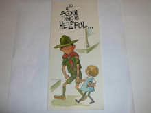 1968 Boy Scout Greeting Card with Scout Helping Girl on the Cover, blank on the inside