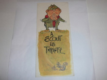1968 Boy Scout Birthday Card with a Scout is Thrifty on the Cover, Happy Birthday on the inside