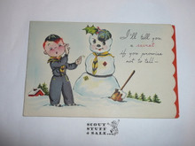 1950's Cub Scout Christmas Card with Snowman on the Front, with Envelope