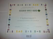 2002 Venturing Bronze Award Certificate, blank