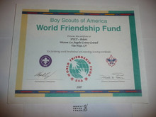 2007 World Friendship Fund Contribution Appreciation Certificate, presented