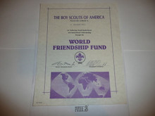 2000's World Friendship Fund Contribution Appreciation Certificate, presented