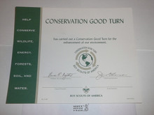 1994 BSA Conservation Good Turn Certificate, blank