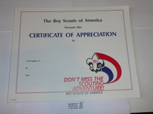 1987 Don't Miss the Scouting Adventure Certificate of Appreciation, blank