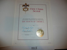 1987 Boy Scout First Class Rank Certificate in folder, blank