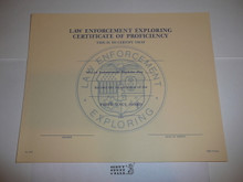 1986 Law Enforcement Exploring Proficiency Certificate, blank