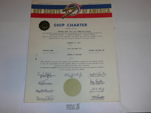 1968 Sea Scout Ship Charter, January, 30 year Veteran Ship Sticker