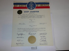 1965 Sea Scout Ship Charter, January, 25 year Veteran Ship Sticker