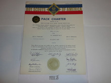 1966 Cub Scout Pack Charter, April, 10 year veteran sticker