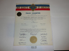 1965 Cub Scout Pack Charter, April, 10 year veteran sticker