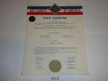 1957 Cub Scout Pack Charter, April, 10 year veteran sticker
