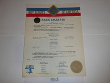 1954 Cub Scout Pack Charter, March, 10 year veteran sticker