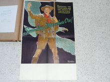 """Norman Rockwell Poster of Scout in Front of Eagle, Used for 1935 and 1937 Jamboree, 29""""x19"""", Tear in Middle Taped, Partially Affixed to Scrapbook Paper"""