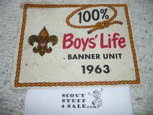 1963 100% Boys' Life Felt Pennant