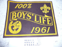 1961 100% Boys' Life Felt Pennant