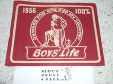 1956 100% Boys' Life Felt Pennant
