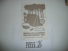 1984 Equipment Catalog for Unit Camping