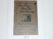 Your Home Your Boy and Scouting, 1928 Printing, Boy Scout Service Library