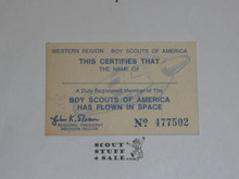 Western Region Card Certifying That a Scout Has Flown in Space