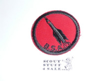 Rocket Patrol Medallion, Red Twill with red rubber backing, 1955-1971