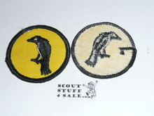 Raven Patrol Medallion, Yellow Twill with gauze back, 1972-1989