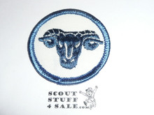 Ram Patrol Medallion, White Twill with plastic back, 1972-1989