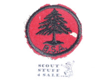 Pine Tree Patrol Medallion, Felt w/BSA & Solid Black Ring back, 1933-1939, Used withh a small moth hole