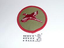 Pheasant Patrol Medallion, Olive Twill with gauze back, 1972-1989