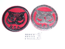 Owl Patrol Medallion, Red Twill with plastic back, 1955-1971