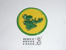 Moose Patrol Medallion, Yellow Twill with gauze back, 1972-1989